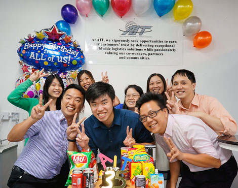 It's not every day that a company turns 35. So why not throw a worldwide birthday party? At AIT-Hong Kong, the celebration included birthday balloons and a chocolate cake!