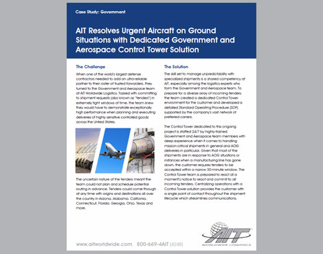 AIT Resolves Urgent Aircraft on Ground Situations with Dedicated Government and Aerospace Control Tower Solution