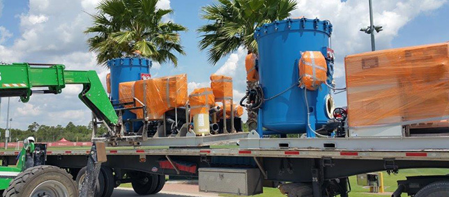 Primary and backup pumping/filtration systems were loaded onto flat bed trailers.